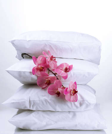 pillows and flower, on grey photo