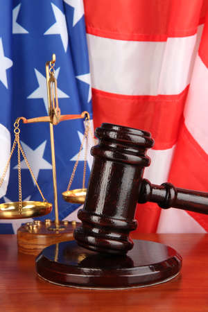Judge gavel on american flag photo