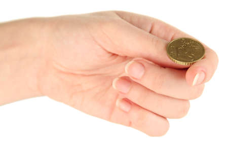 Hand of woman flipping coin isolated on white photo