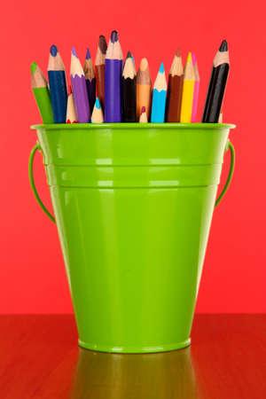 saturated color: Color bucket with multicolor pencils