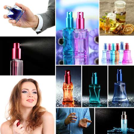 Collage of  luxury perfumes photo