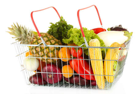 Fresh vegetables and fruit in metal basket isolated on white background photo
