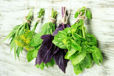 medical herbs: Fresh herbs on wooden background