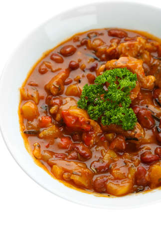 Chili Corn Carne - traditional mexican food, isolated on white photo