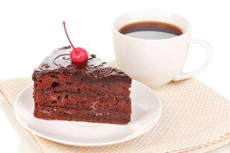 Chocolate sacher cake isolated on white photo