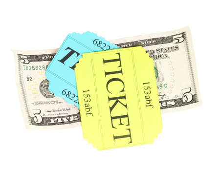 Colorful ticket with money isolated on white photo