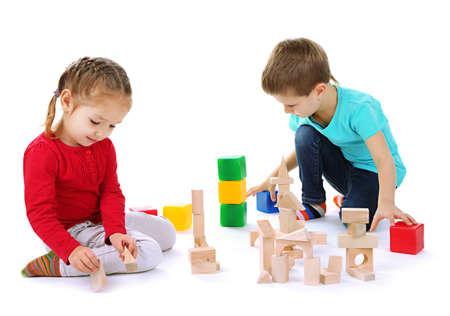Little children isolated on white photo