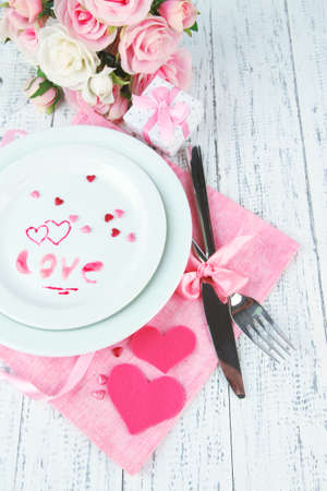 Romantic holiday table setting, close up photo