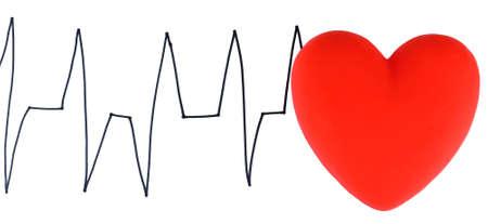 Heart on cardiogram background, isolated on white Stock Photo - 24741958