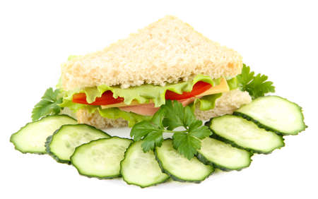 Fresh and tasty sandwich isolated on white photo