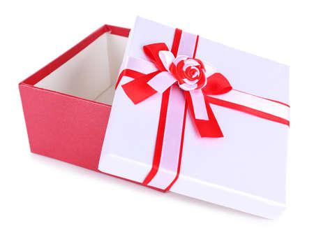 Beautiful gift box isolated on white photo