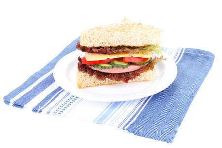 Fresh and tasty sandwich on plate isolated on white photo