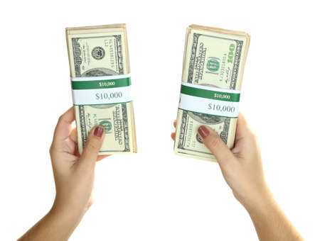 recounts: Packs of dollars in hand isolated on white