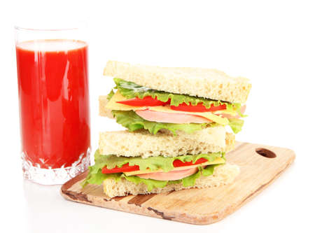 Fresh and tasty sandwiches on cutting board isolated on white photo