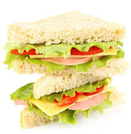 Fresh and tasty sandwiches isolated on white photo