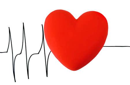 cardioid: Coraz�n en el fondo cardiograma, aislado en blanco
