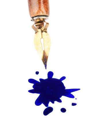 smirch: Pen and ink blot, isolated on white