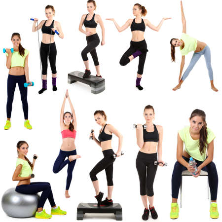 Young woman exercising collage isolated on white photo