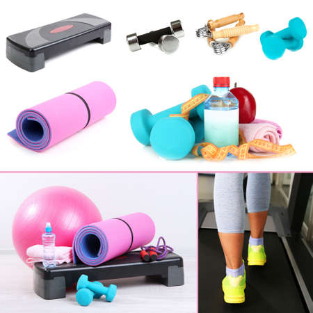 Fitness equipment collage photo