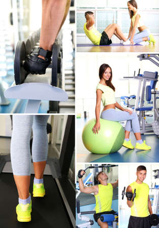 Collage of young people working out in gym photo