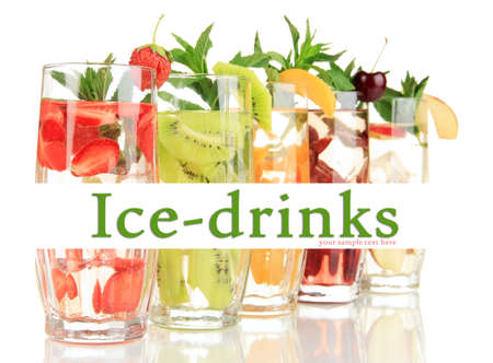 Glasses of fruit drinks with ice cubes isolated on white Stock Photo - 25011081