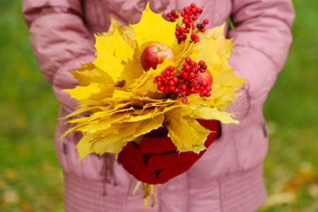 Bouquet of yellow leaves in hands photo
