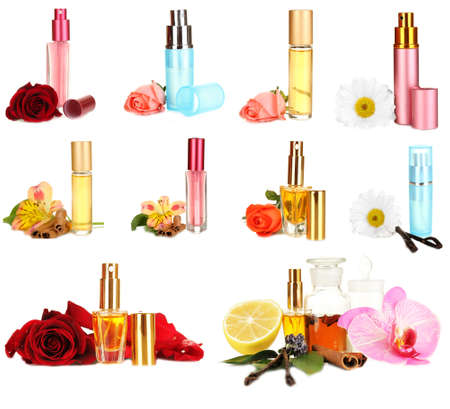 perfumer: Collage of  luxury perfumes Stock Photo