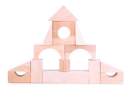 Wood chateau isolated on white photo