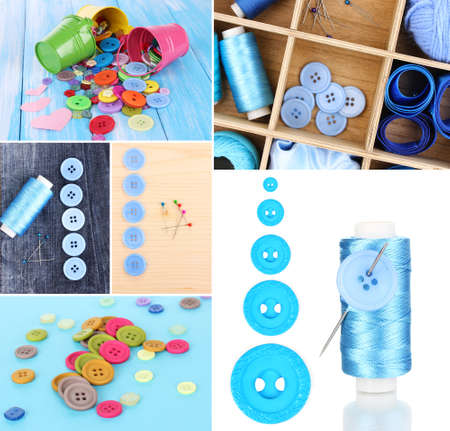 Collage of colorful buttons photo