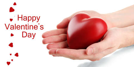 Red heart in man hands, isolated on white