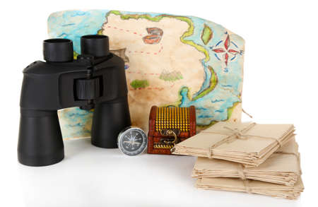 old letters: Black modern binoculars with old letters and map of adventure isolated on white