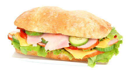 Fresh and tasty sandwich with ham and vegetables isolated on white photo