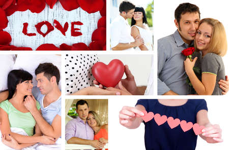 Collage of Valentines Day. Beautiful couples photo