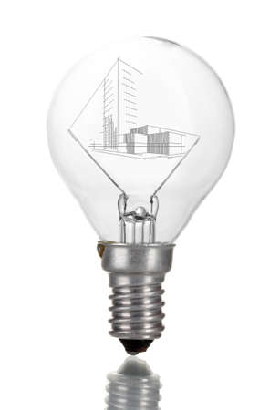 unfinished: Light bulb with house sketch project isolated on white