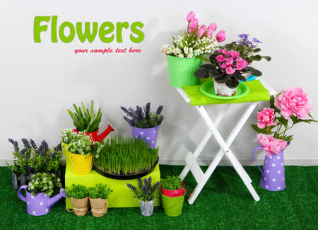 Color crate and table with decorative elements and flowers standing on grass photo