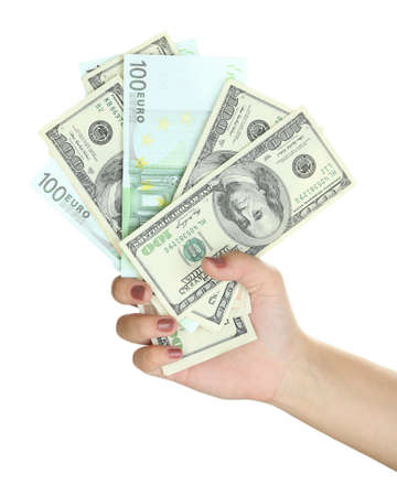 recounts: Female hand with dollars close up isolated on white Stock Photo