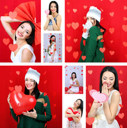 Collage of beautiful girl on Valentines Day photo