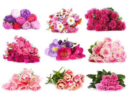 Flower bouquets isolated on white photo