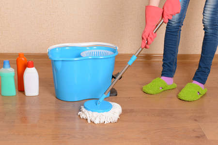 House cleaning with  mop Stock Photo - 25216347