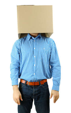 conceal: Man with cardboard box on his head isolated on white