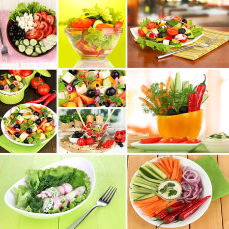 Collage of  different salads photo