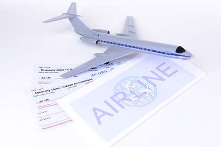 Airline tickets isolated on white photo