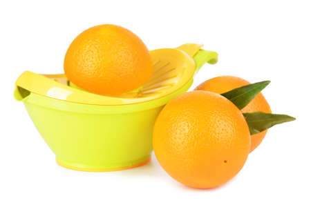 Citrus press and oranges isolated on white photo
