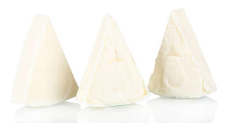 Cream cheese in triangle shape isolated on white