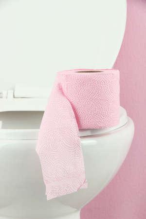 White toilet bowl in  bathroom photo