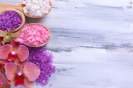 bath and body: Spa treatments on color wooden background Stock Photo