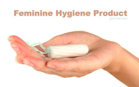 breathable: mano di donna in possesso di un tampone di cotone pulito su sfondo bianco close-up Archivio Fotografico