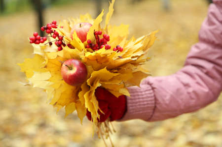 Bouquet of yellow leaves in hand photo