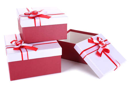 Beautiful gift boxes isolated on white photo