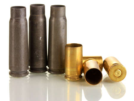 Shotgun cartridges isolated on white photo